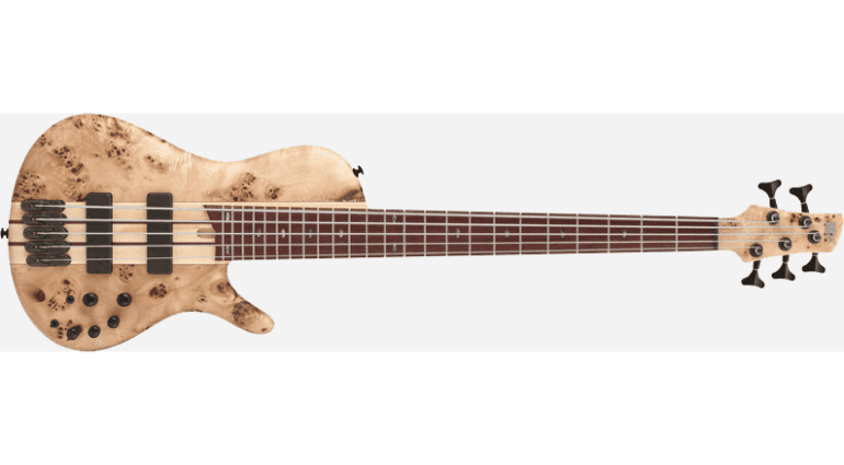 Ibanez's Bass Workshop is always trying to come up with new and interesting takes on the bass models we have come to love. Last year they introduced a shorter scale BTB and the fanned fret SR line now they have made the SESC805. A 5 string single cutaway version of the amazing SR series of basses. Not only does it look amazing with its Poplar Burl top and Purpleheart fretboard but it also has the amazing versatile sound that SR's are known for as well.