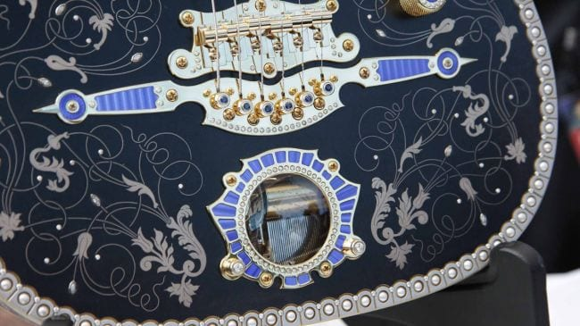 1005 diamonds 38 sapphires 325 natural pearls 20' 18-karat rose gold wire inlay 12 sq. inches of 18-karat rose gold sheet inlay Exhibition-grade bird's-eye maple neck