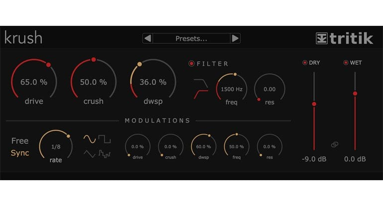 Free bit crushing plugin by Tritik - 'Krush' is released