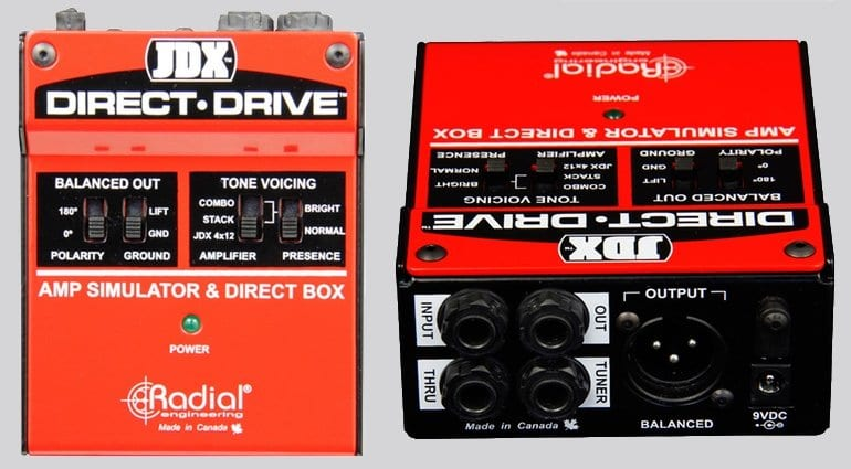 JDX Direct Drive DI Box 4x12 2x12 Shure SM57 microphone Radial