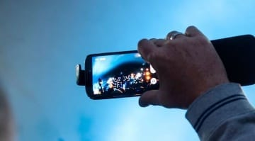 iPhone filming a gig