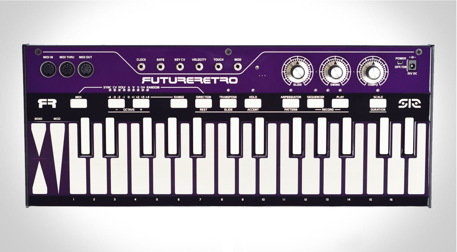 future retro release the 512 touch midi  cv keyboard