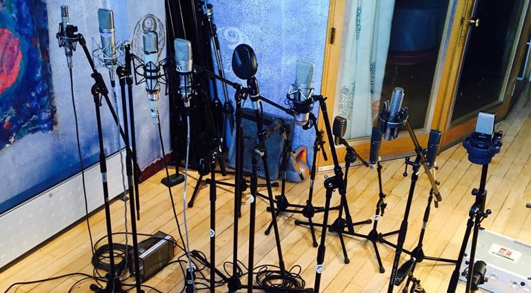 Townsend Labs' Facebook photo of a collection of mics
