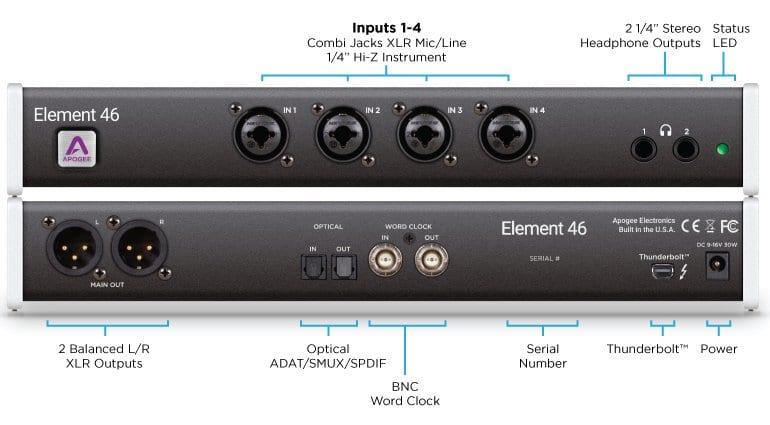 Apogee Element 46 Thunderbolt Interface