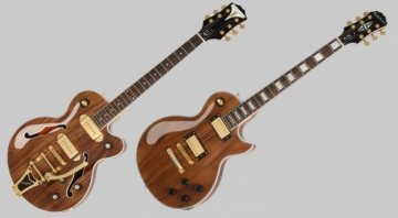 Epiphone Limited Edition Koa topped Les Paul Custom and Wildkat