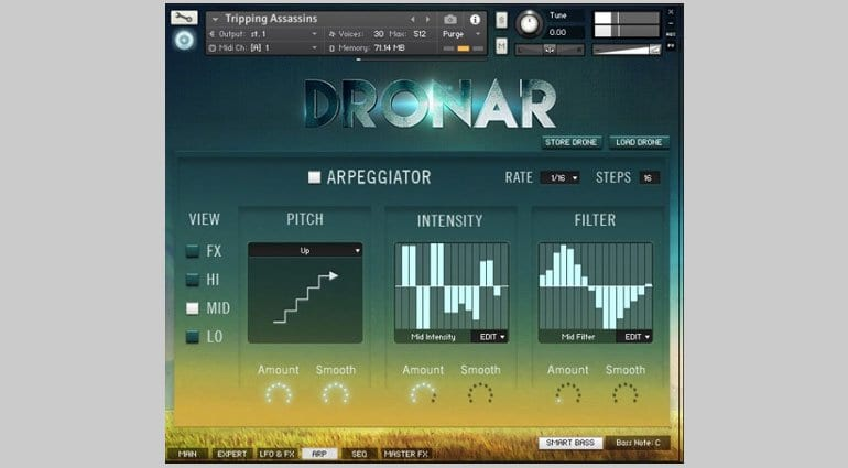 Dronar Guitar Soundscapes arp editor