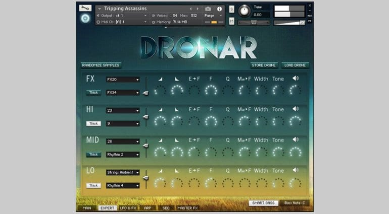 Dronar Guitar Soundscapes FX editor