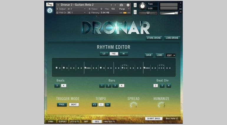 Dronar Guitar Soundscapes rhythm editor