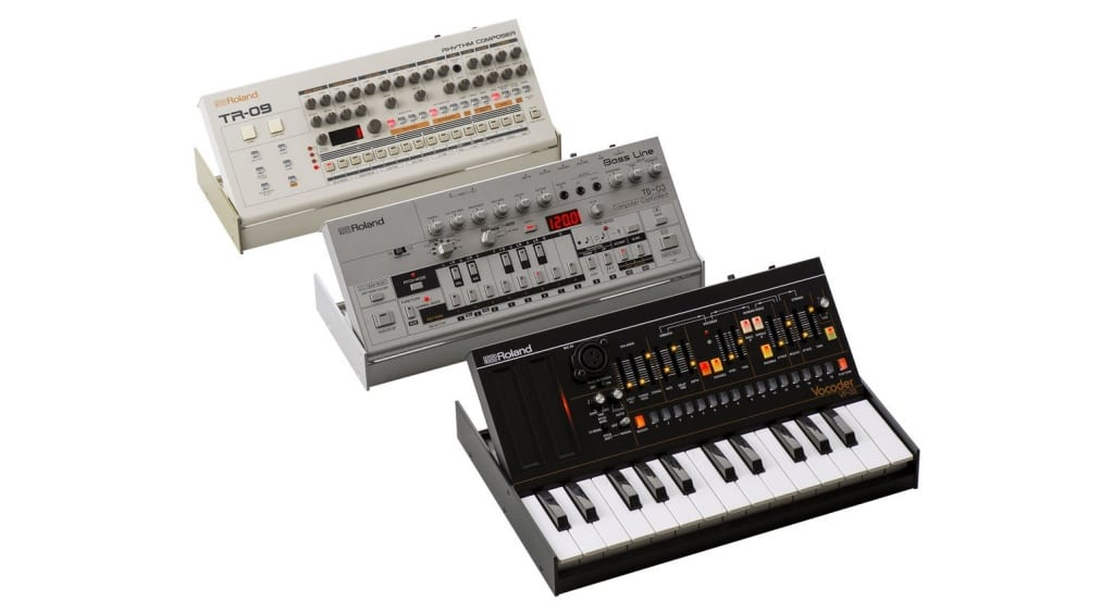 Roland TR-09, TB-03 and VP-03 tilted