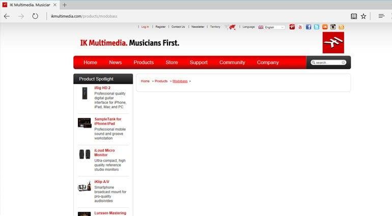 IK Multimedia MODOBASS product page