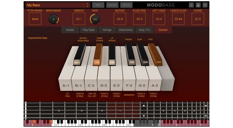 IK Multimedia MODO BASS key switching