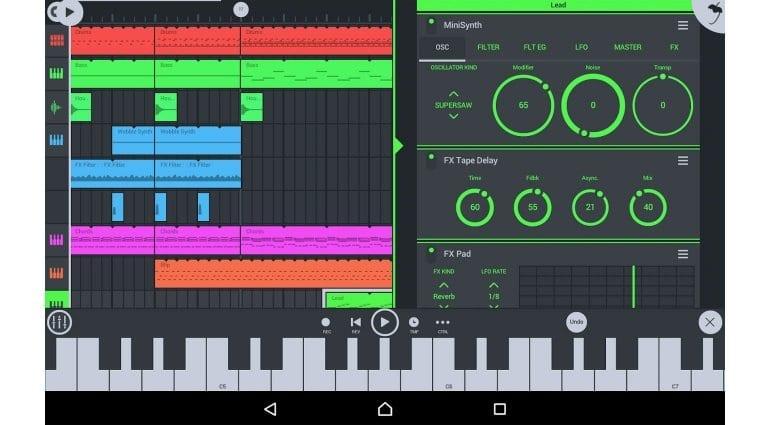 Image Line FL Studio Mobile arrange page