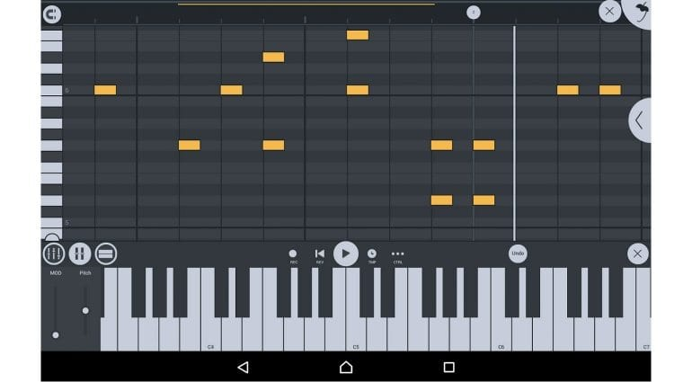 Image Line FL Studio Mobile piano roll
