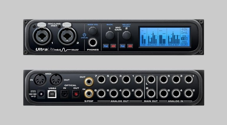 MOTU UltraLite MK4 audio interface front and rear