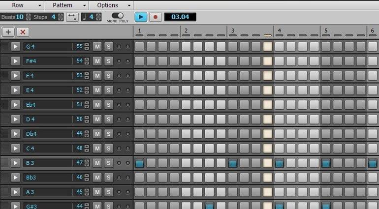 Cakewalk Sonar Home Studio step sequencer