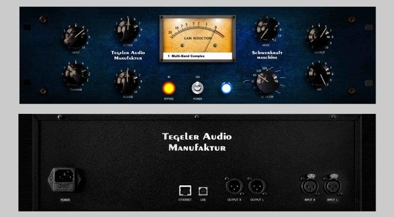 Tegeler Audio Schwerkraftmaschine Compressor front and rear