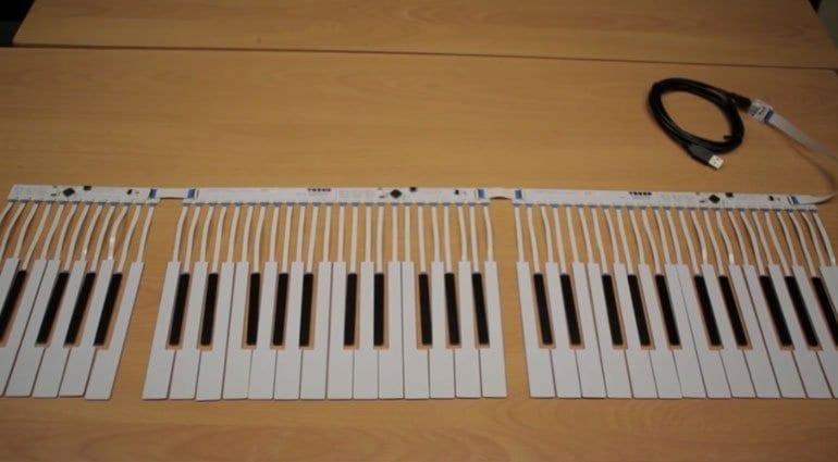 TouchKeys sensor strips laid out