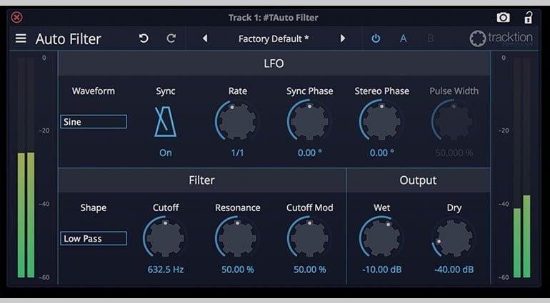 Tracktion DAW Essentials Auto-Filter