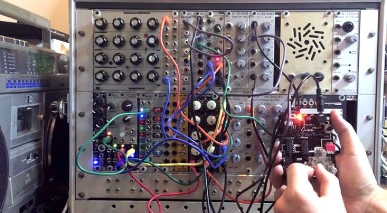 The Yowler plugged into a modular synth