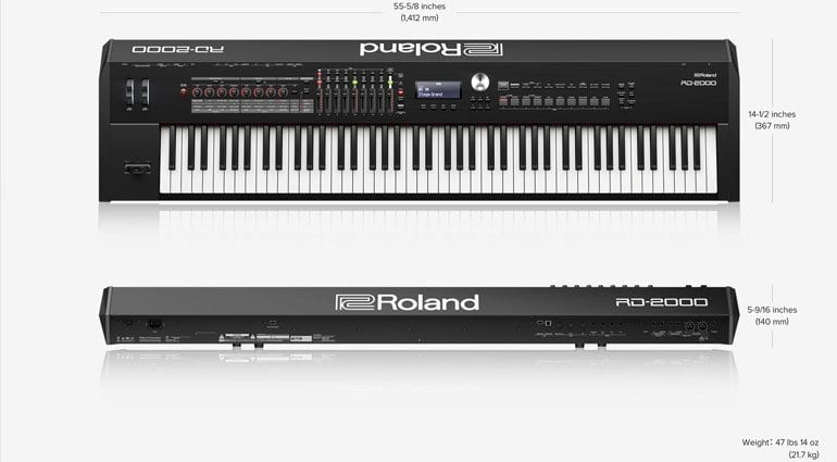 Roland RD-2000 Stage Piano sizing