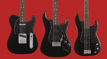 Fender Noir Special Edition Telecaster, HSS Stratocaster and Precision Bass