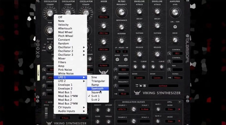 Blamsoft VK-2 modulation menu selection