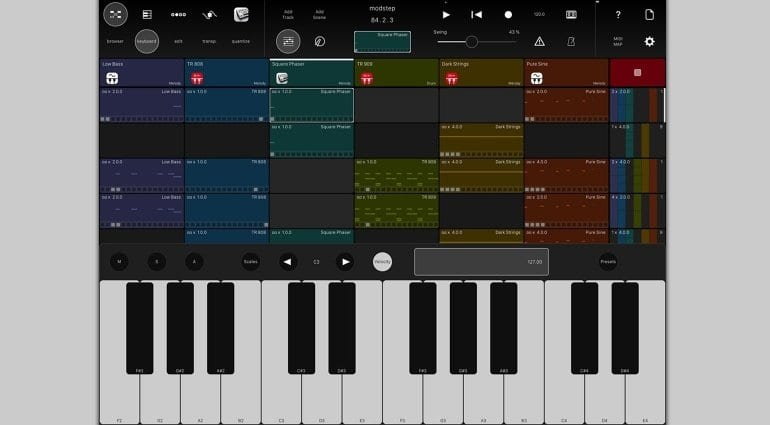 Modstep MIDI sequencer for iPad - user interface with clips