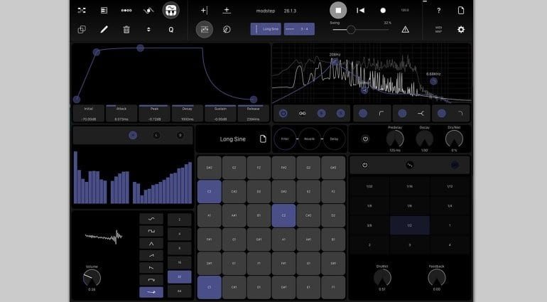 Modstep MIDI sequencer for iPad - internal synth