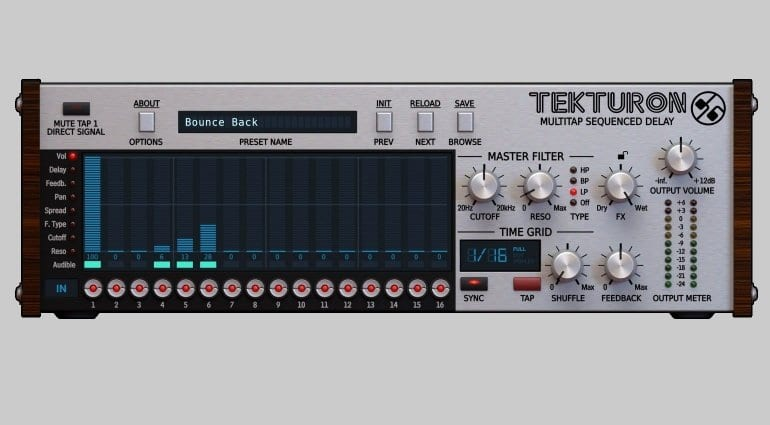 D16 Tekturon multi tap delay plugin user interface