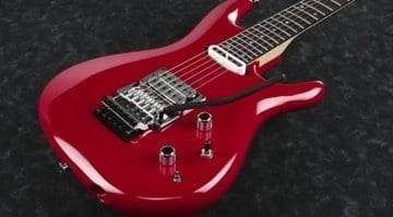 Ibanez JS2480 Joe Satriani signature model in Muscle Car Red and Sustainiac System