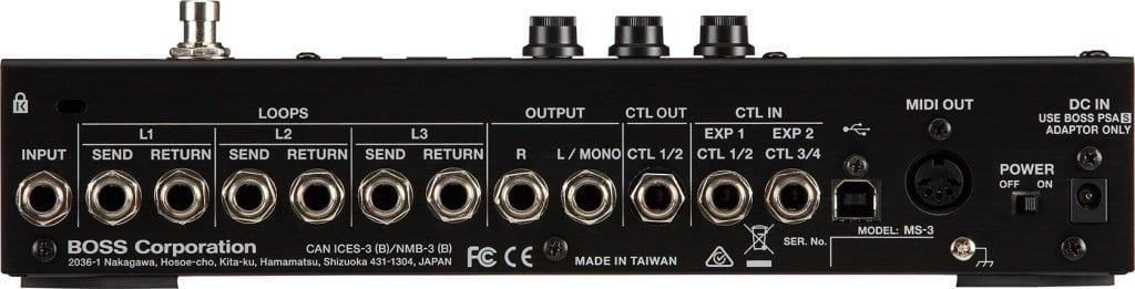 Boss MS-3 Multi Effects Switcher pedal rear panel