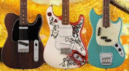 Jimi Hendrix, George Harrison and Justin Meldal-Johnsen signature models