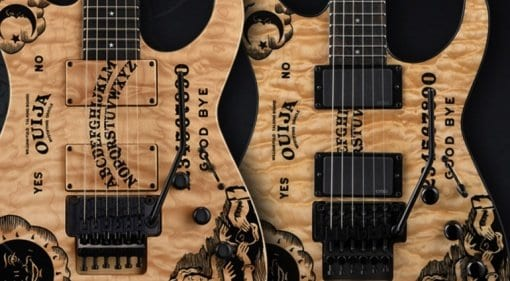 ESP and LTD Kirk Hammett limited edition quilted maple Ouija Board