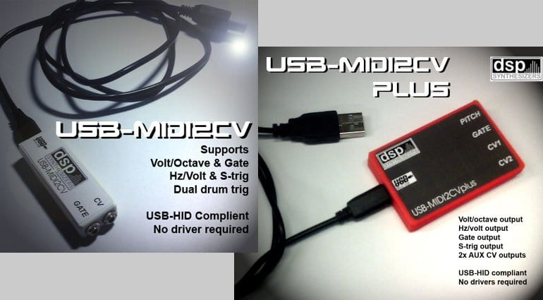 DSP Synthesizers USB-MIDI2CV and USB-MIDI2CVplus