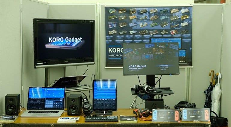 Korg Gadget Switch on Korg's stand