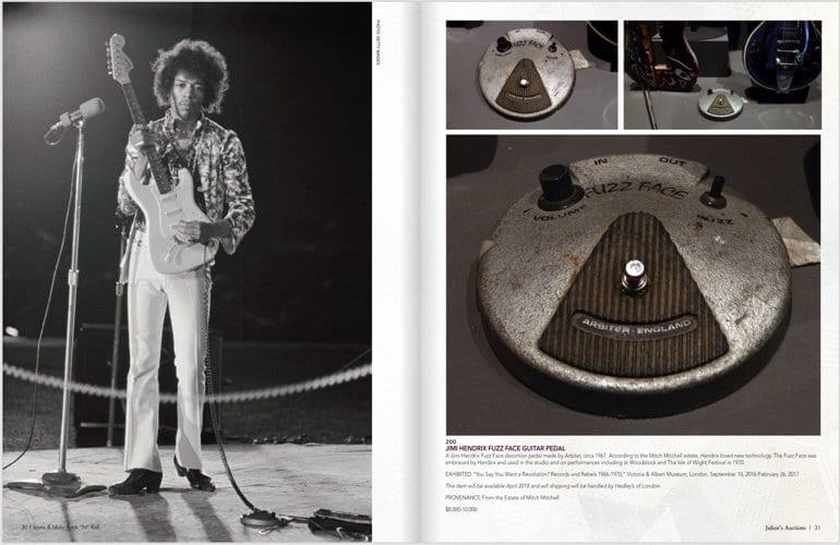 Juliens Auction Hoiuse Catalogue Jimi Hendrix Arbiter 1967 Fuzz Face pedal