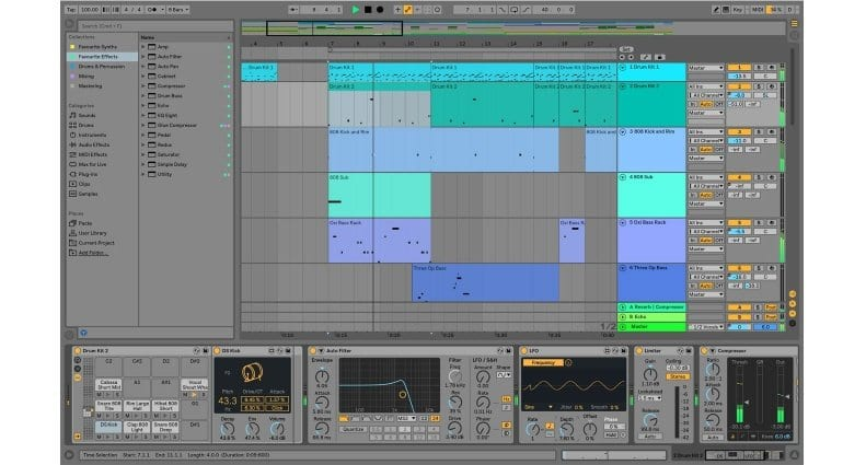 Ableton Live 10 arrange view