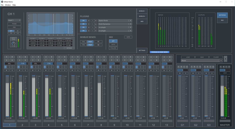 CMixer digital mixer for live, DAW free mixing through your computer