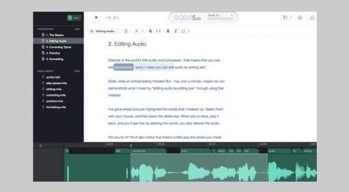 Descript text to audio editor