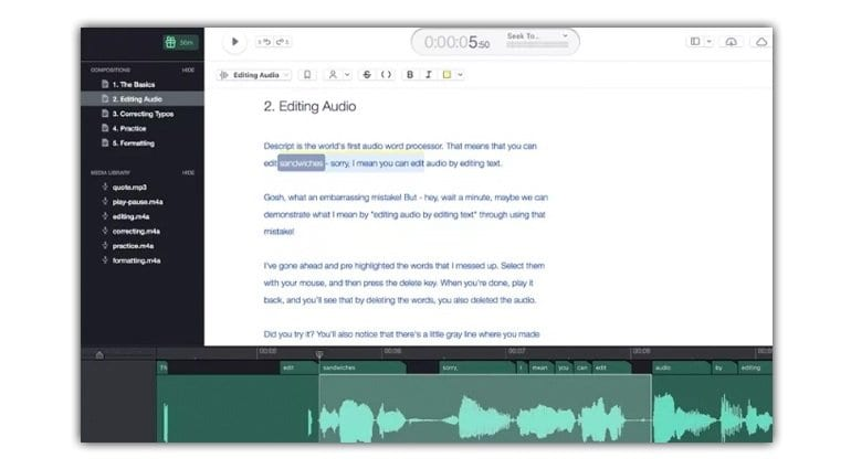 Descript text to audio editor