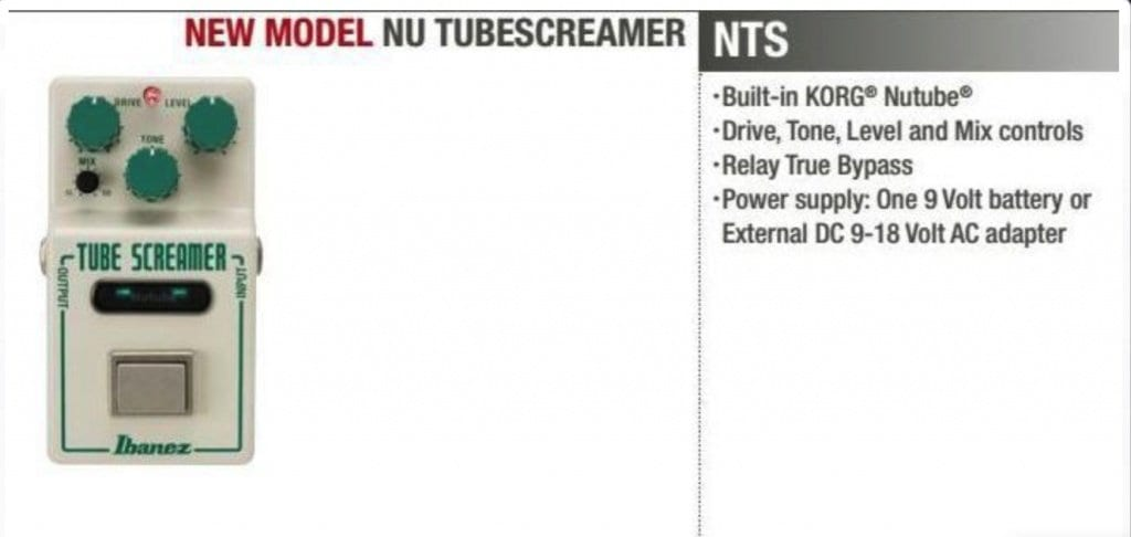 Ibanez Nu Tube Screamer Catalogue entry