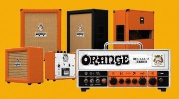 Orange NAMM 2018 Rocker 15 Terror amp head, Orange Crush and PPC212 slant cab