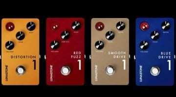 Lunastone Distortion 1,Red Fuzz 1, Smooth Drive 1 and Blue Drive 1 effects pedals
