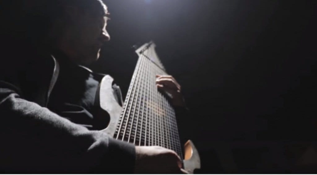 Jared Dines with his 18 String Ormsby Djent machine