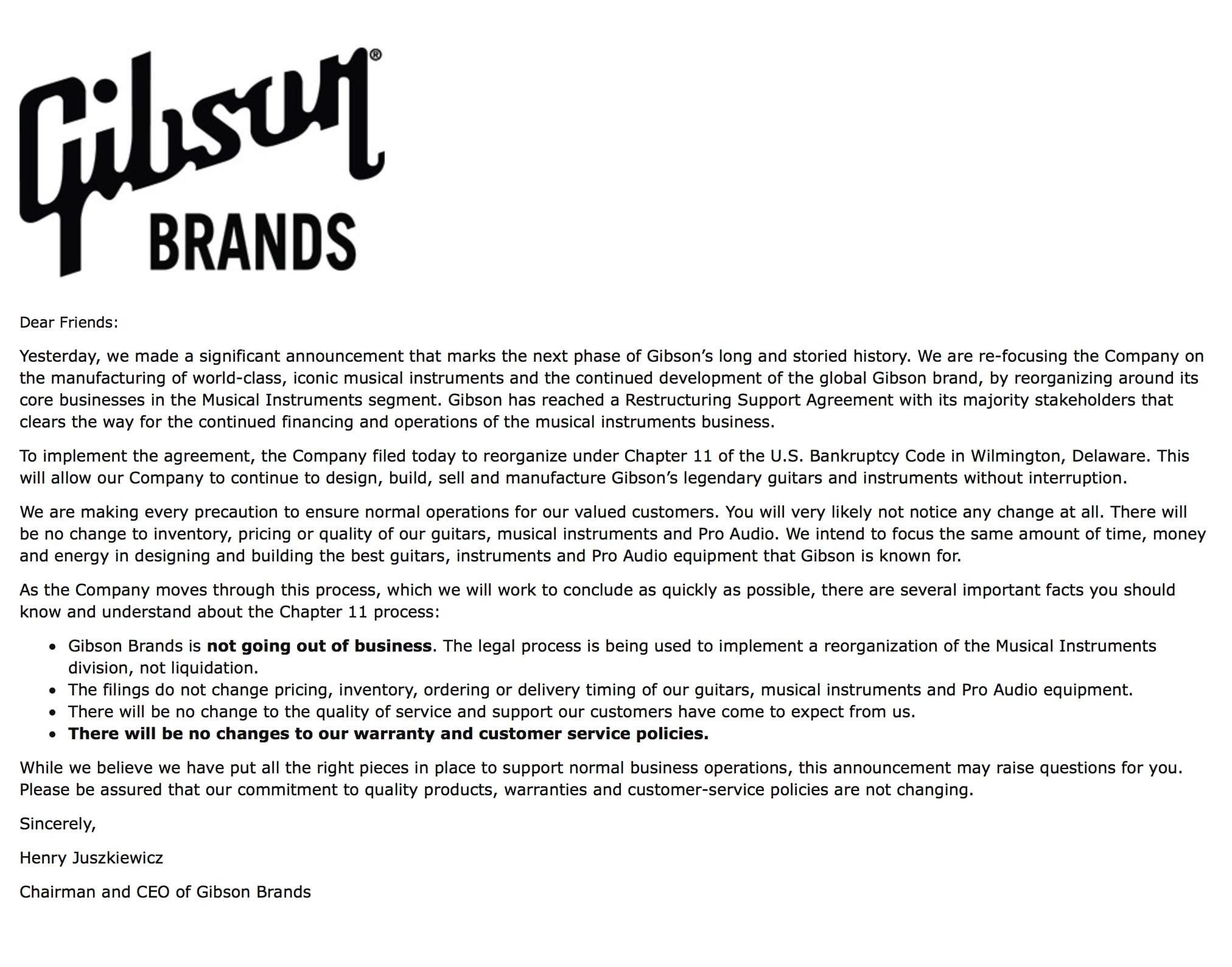 Gibson Henry Juszkiewicz statement