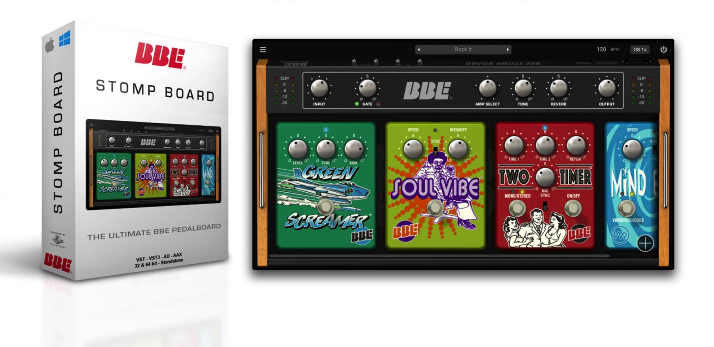 bbe 39 s new stomp board models its guitar effect pedals in software. Black Bedroom Furniture Sets. Home Design Ideas