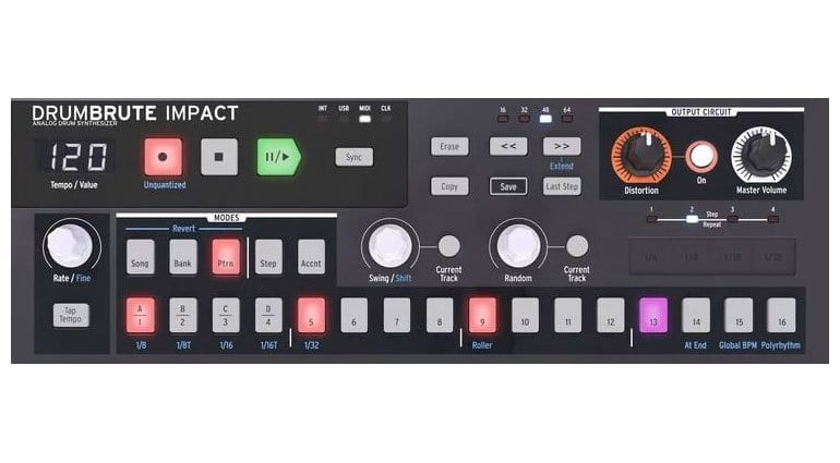 Arturia DrumBrute Impact sequencer and performance controls