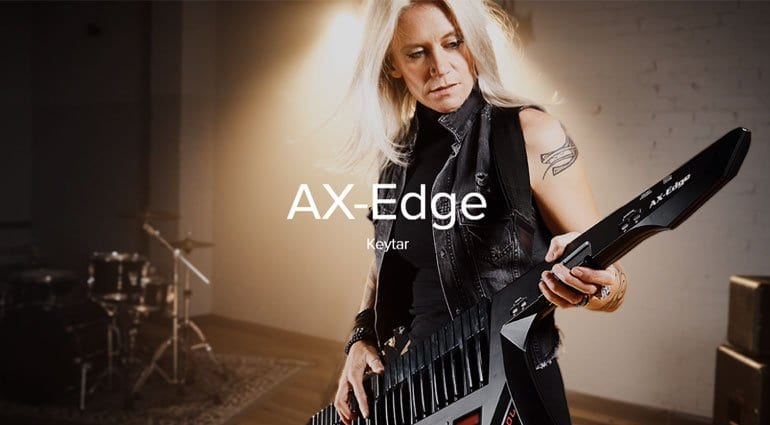 roland s ax edge keytar with custom blades couldn t be more metal
