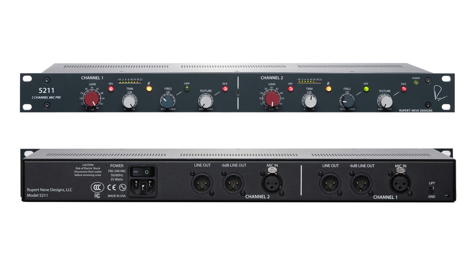 Aes 2018 Rupert Neve Designs 5211 2 Channel Mic Pre Preamplifier For Microphone Or Guitar Use
