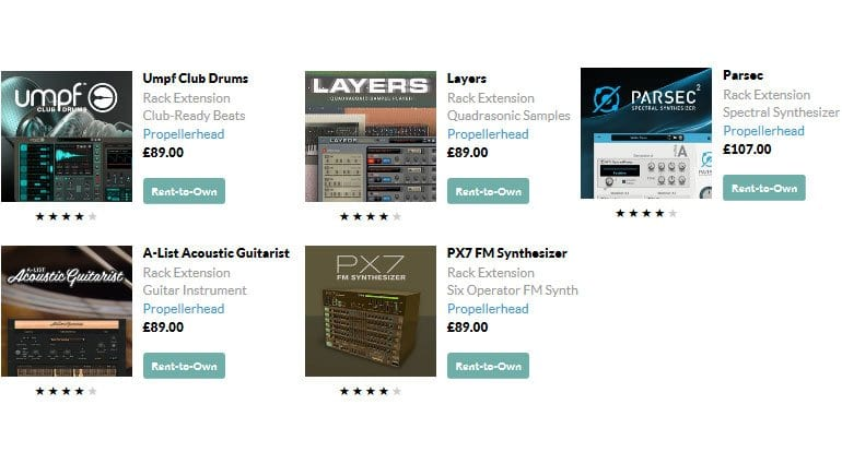 Propellerhead Rent-to-Buy Rack Extensions